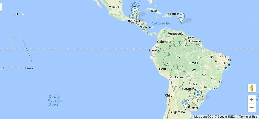Google map of Central and South America