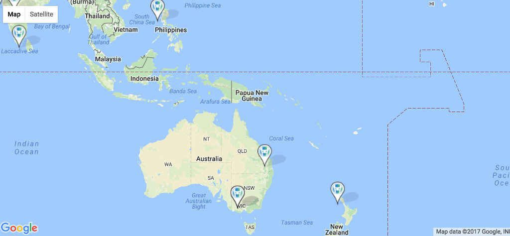 Google map of Oceana with pins in Australia, New Zealand, and The Philippines