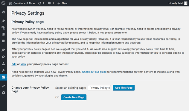 A screenshot of the new Privacy Settings page.