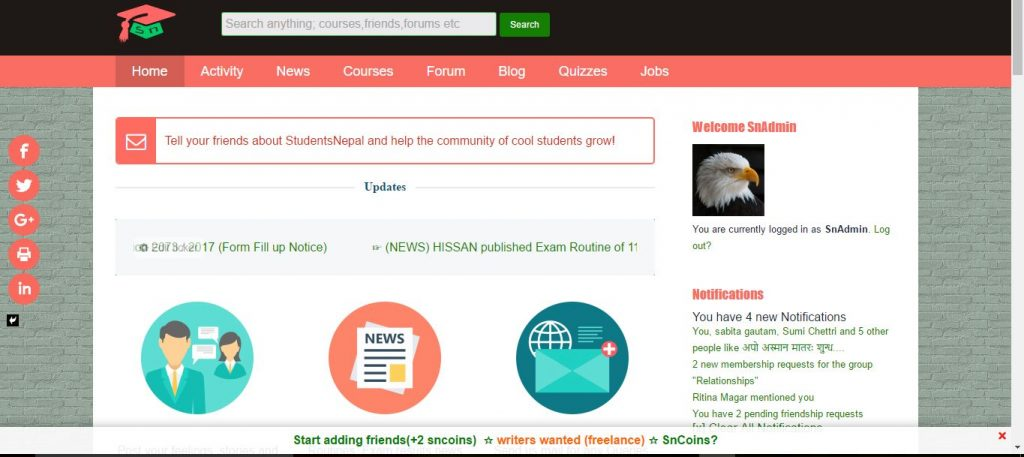 StudentsNepal.com logged in